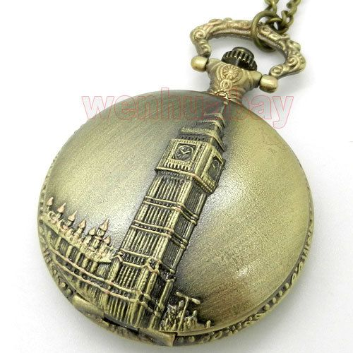 Античная Бронза Биг Бен Лондон Кварцевые Карманные Часы Мужчины Женщины Ожерелье Кулон Подарок P82