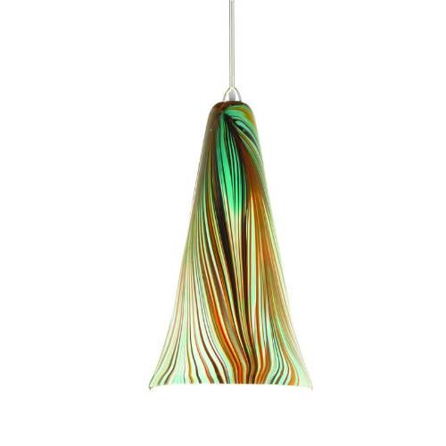 tropical pendant lighting | ... Light Down Lighting Quick Connect Pendant in Chrome with Green Glass