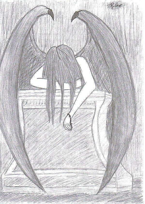 Angels Drawings | Fallen Angel - Drawing by XxmygenerationxX