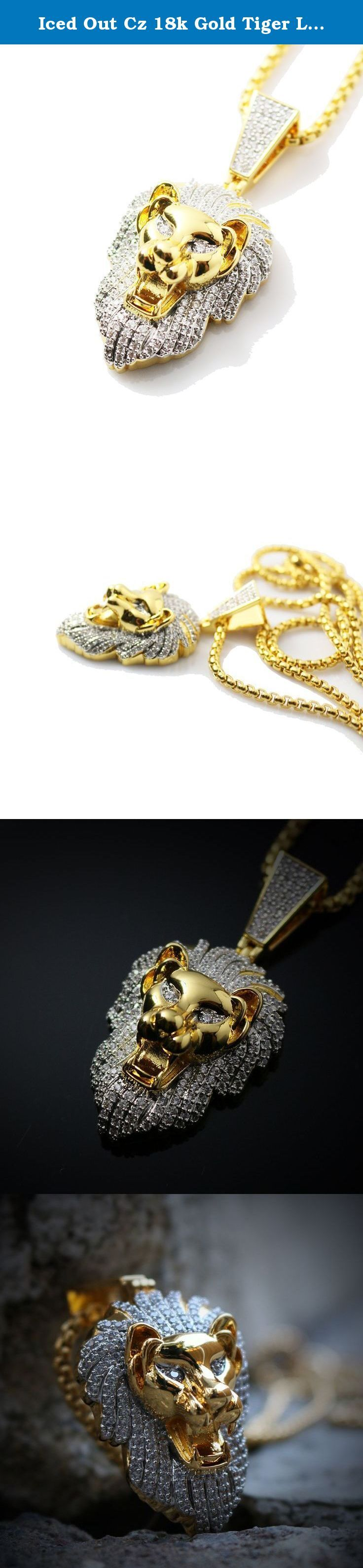 Iced Out Cz 18k Gold Tiger Lion Roar Stainless Steel Box Chain Pendant Necklace. Iced Out CZ 18K Gold Tiger Lion Roar Stainless Steel Box Chain Pendant Necklace Chain is made of 316 stainless steel with a 18k gold plating. White lab simulated diamonds 18k Gold and rhodium plated Pendant size is 1.5 inches in length. This pendant comes with a 2.5mm width 26 inch length 316 stainless steel 18k gold pearl box chain.