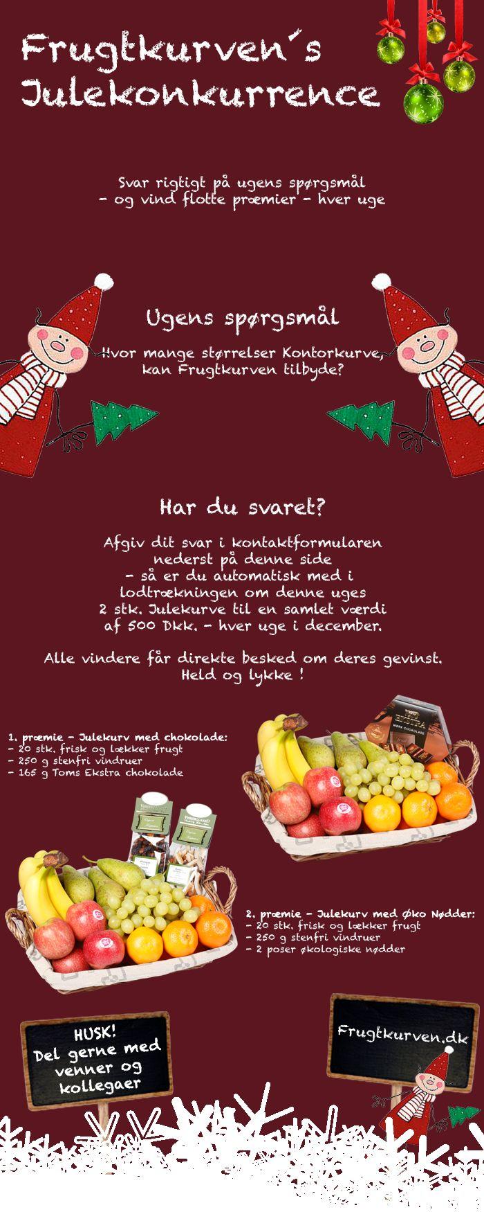 Frugtkurvens Julekonkurrence Deltag i Frugtkurven´s store Julekonkurrence 2014 og vind flotte præmier - hver uge.  Alt hvad du skal gøre er at svare rigtigt på ugens spørgsmål - og vind flotte præmier - hver uge.   Held og lykke og glædelig jul.  Deltag her> http://www.frugtkurven.dk/nyheder/?id=25  #frugt #frugtkurven #frisk #frugtkurv #julekonkurrence #jul2014 #julen 2014