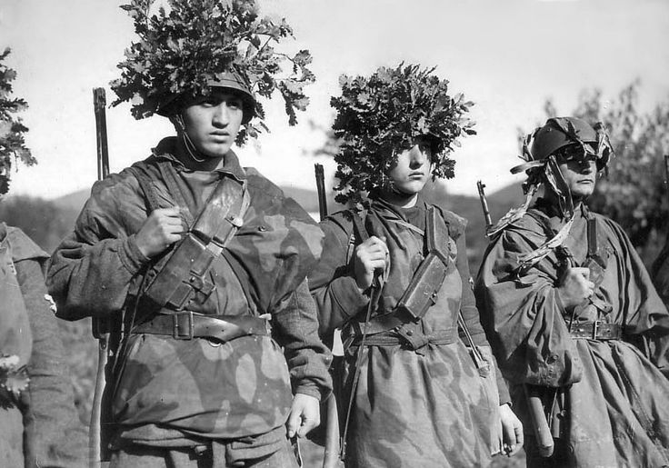 Troops of the 29th Waffen Grenadier Division of the SS (1st Italian) or Legione SS Italiana stand at attention. After the Kingdom of Italy ousted Head of Government of Italy and Duce of Fascism Benito Mussolini in 1943 and signed a truce with the Allies and eventually switched sides, declaring war on Germany, Mussolini installed himself, with German aid, as the head of the puppet state of the Italian Social Republic. The Italian Social Republic exercised nominal sovereignty in northern…