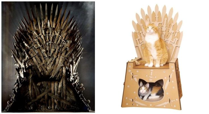This Game Of Thrones Cardboard Cat House Lets Your Pet Literally Live Inside The Iron Throne Https Www B Cardboard Cat House Game Of Thrones Cat Cat House