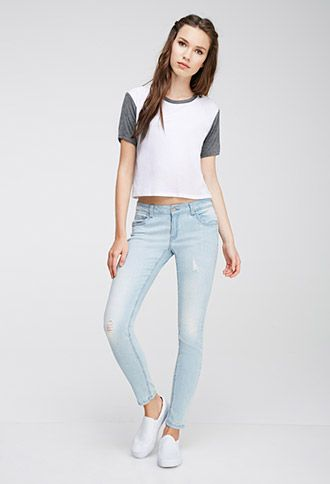 Distressed Low-Rise Skinny Jeans | FOREVER21 | #f21denim