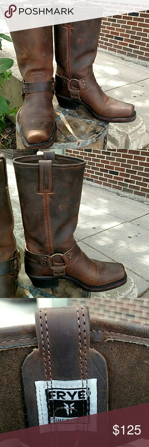 Frye Women's Riding Boots size 7.5 Dark brown leather with inner and outer brass rings and straps Knicks and scuffs on leather add character to boot sole in great condition worn 1-2x Front flat toe Frye Shoes Heeled Boots