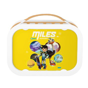 """Check out this cool """"Miles From Tomorrowland"""" graphic of Miles Callisto and MERC Robotic Sidekick over a collage of their journey through different worlds!"""