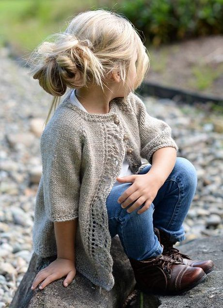 Knitting pattern for Cove Cardigan for children - This children's sweater by Velvet Acorn features a leaf lace front. Sizes 2/3, 4/5, 6/7, 8/9, 10/11 years