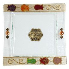 Glass Matzah Plate with Pomegranates and Beads
