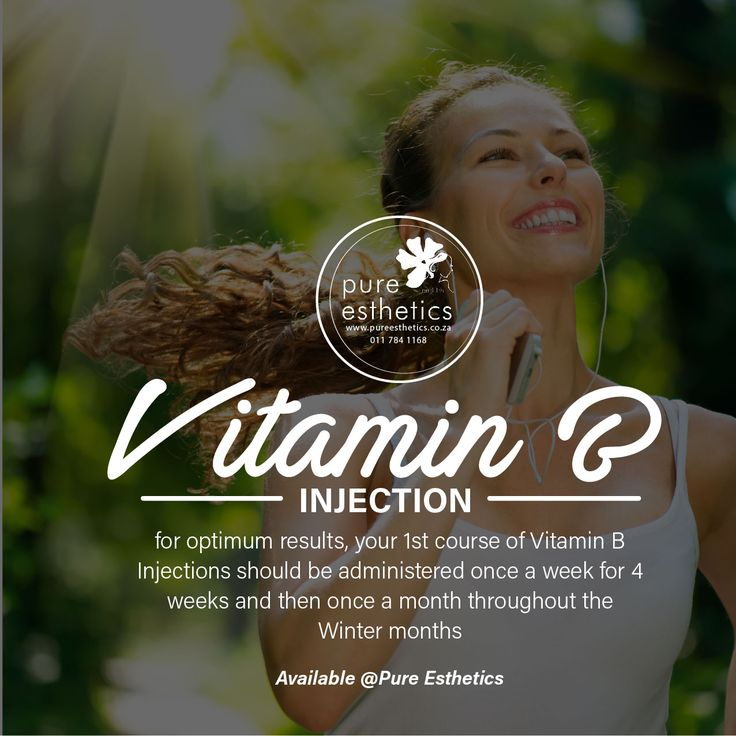 Vitamin B Injection Keep Healthy this Winter! for optimum results, your 1st course of Vitamin B Injections should be administered once a week for 4 weeks and then once a month throughout the Winter months Available @Pure Esthetics For more information or a booking please contact us at +2711 784 1168