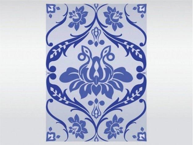 Delft blue floral design vector pattern