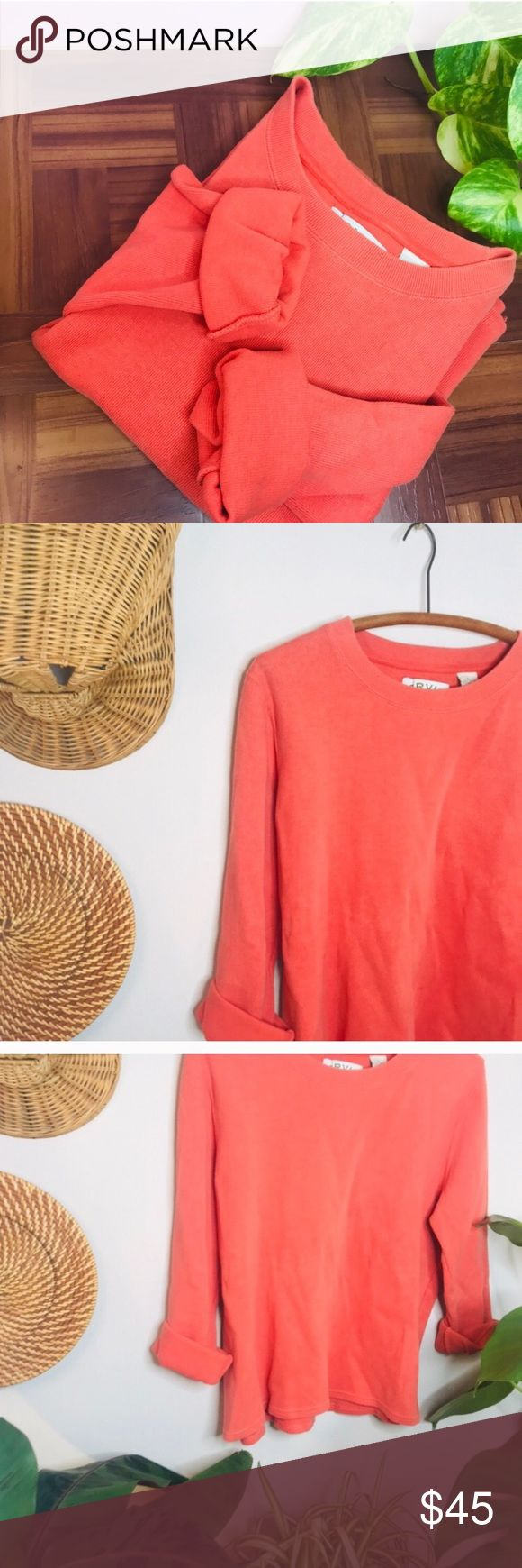 vsco ribbed orange boyfriend oversized pullover Vintage Retro 90's Crop Ribbed Orange Pullover  • Tags say large but would fit a medium as an over...