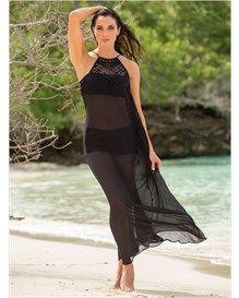 vestido largo playero con tejido en escote-700- Black-MainImage