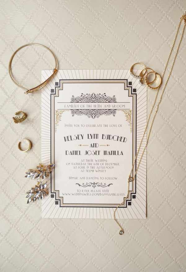 Gorgeous Great Gatsby-style invitations, too cool, too chic // Priscilla Thomas Photography
