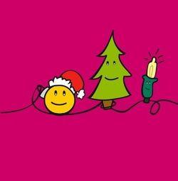 Vrolijke kerstkaart met kerstversiering. Grappige Cartoon-kerstkaarten. Kies een mooie kerstkaart, schrijf de tekst, en met een druk op de knop, verstuur je ze allemaal! http://www.kerstkaartensturen.nl/kerstkaarten/kerst-cartoons/