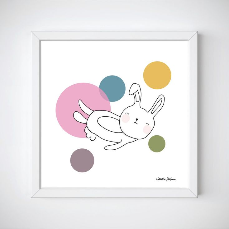 "Space Rabbits -NEO Illustration of a cute rabbit jumping around in space. ""NEO"" is a part of the Space Rabbits collection.  This poster is perfect for a nursery or a child's room.   #illustratör #illustration #rabbit #rbbits #space #planets #cute #poster #prints #kidsroom #kidsposter #children #kidsroominspo"