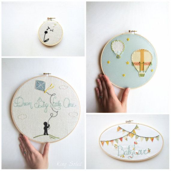 Custom Nursery Art Embroidery Hoop Set Wall Art Upcycled Fabric Design your Own One of a Kind as featured on Kid Style File