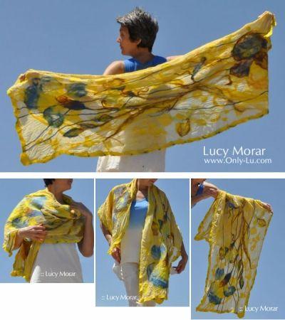 """Sunshine Iris"" Nuno Felt Art Scarf by Lucy Morar"