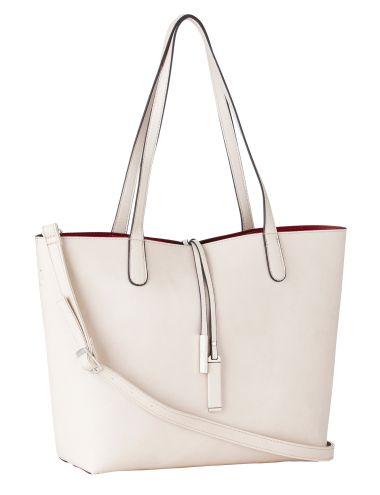 This large shopper bag in bone/raspberry features a pull-out internal pouch, an internal zip pocket and large internal phone pouches. The bag also includes a detachable and adjustable shoulder strap with an arm style drop of 23cm.