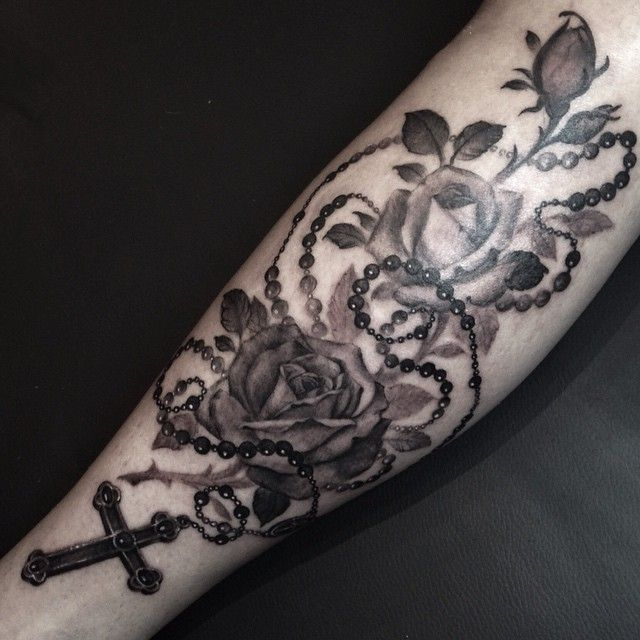 roses rosary tattoo I did tonight. Thank you, @twatwolf__ for sitting like a f*cking champ!
