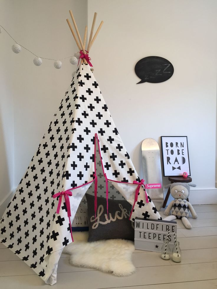 Children's Play Monochrome Teepee Stripe with Pink | Diddle Tinkers
