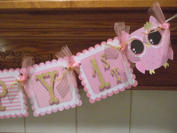 Gold Owl Banner Pink and Gold Birthday Banner Pink and by PartysOn