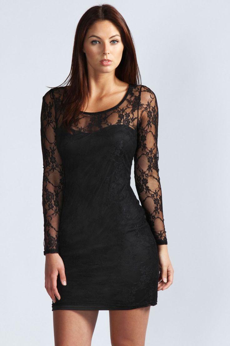 Samantha Long Sleeve Lace Bodycon Dress at boohoo.com - £20.00