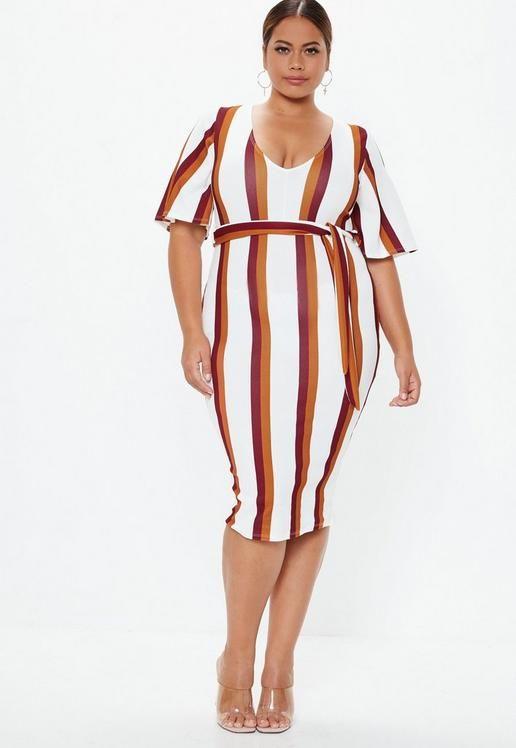 cf3b18dc0a450f Plus Size Biała sukienka kimono w paski   sukienki duże   Moda dla ...