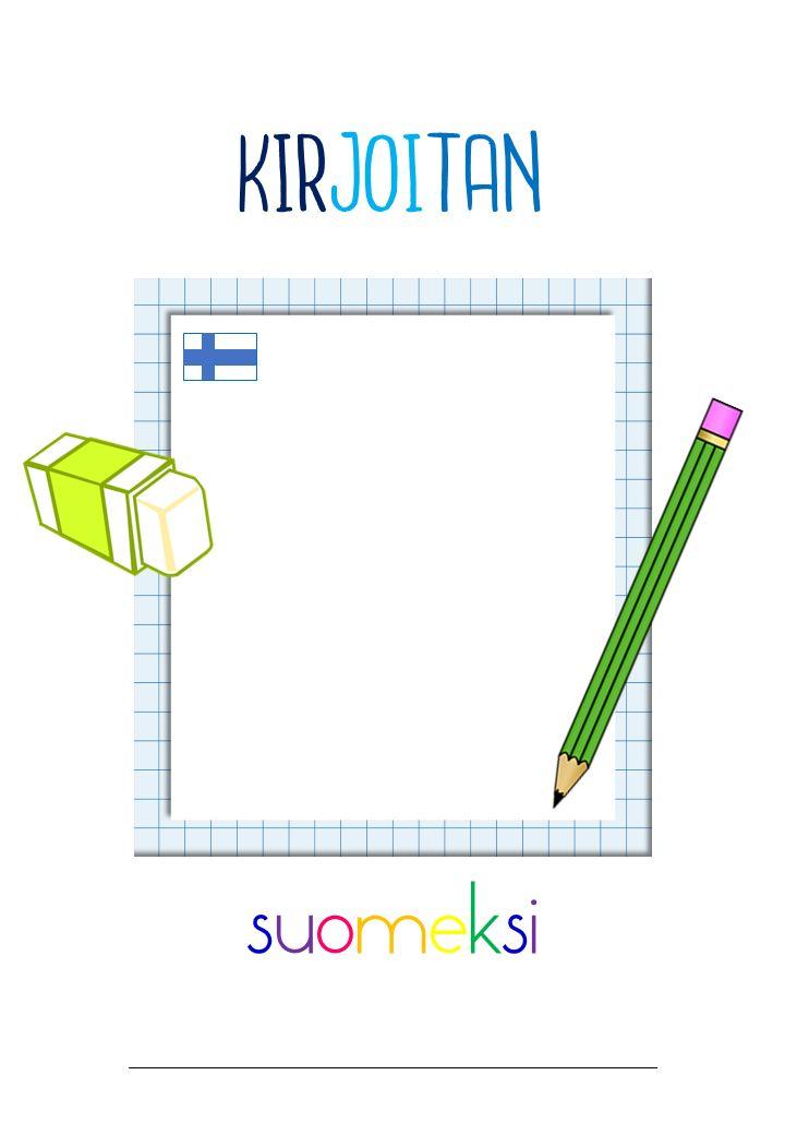 Kirjoitan suomeksi -kansion kansilehden väriversio. Saa tulostaa opetuskäyttöön!