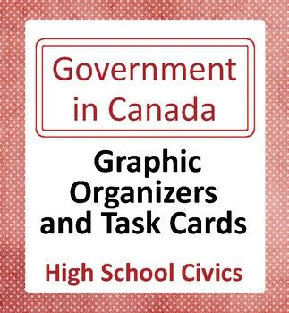Canada's Government: High School Civics - 10 Graphic Organizers and 48 Task Cards is designed for students in high school in Canada. Ten topics are presented: Our System of Government, Our Head of State, Our Head of Government, The House of Commons, The Senate, The Federal Government, Provincial and Territorial Governments, Municipal Governments, Elections, and Citizenship. ***This resource has been updated as of 3 Oct 2017 to include the new NDP Leader, new Bloc Q leader, and new Governo...