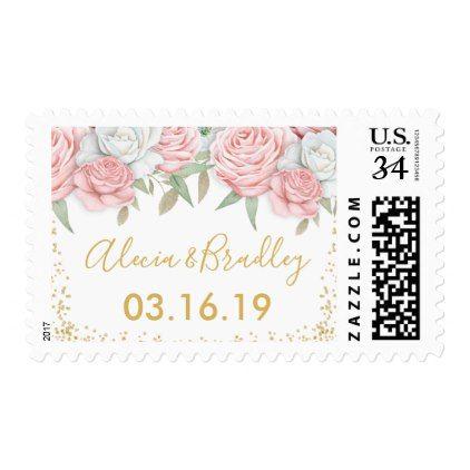 Elegant Dusty Pink Gold Floral Garden Wedding Postage - gold wedding gifts customize marriage diy unique golden