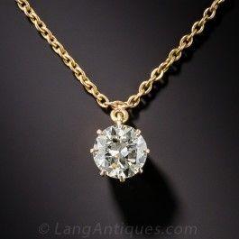 1.20 Carat European-Cut Diamond Solitaire Necklace - What's New