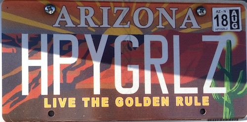 Happy Girls - 2 AZ vanity license plates juxtaposed to make a sentence or quip