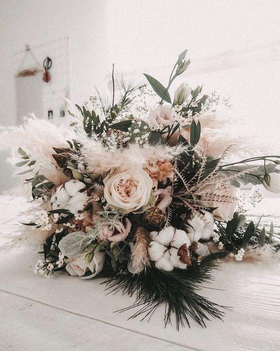 earthy neutral boho chic wedding bouquet #bride#weddingbouquet fall wedding bouq…