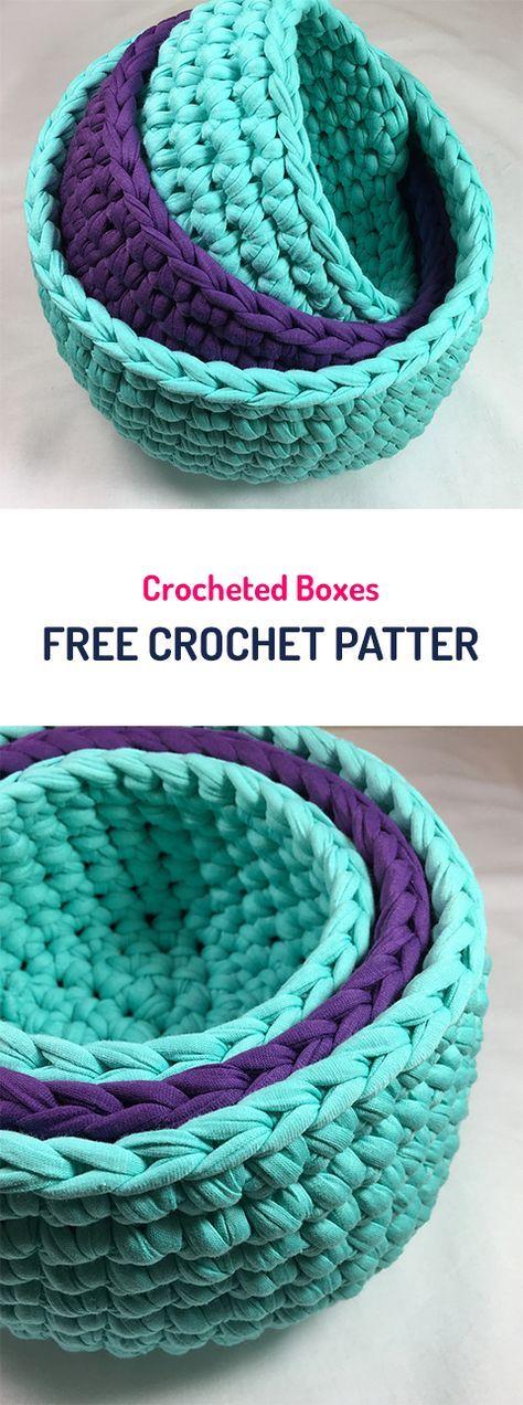 Crocheted Boxes Free Crochet Pattern #crochet #crocheting #crocheted #yarn #handmade #crafts #homemade