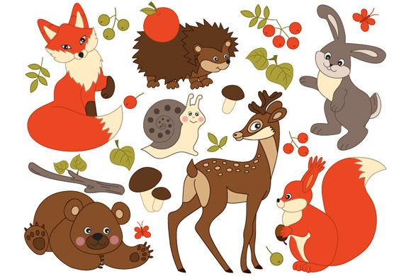Forest Animals and Insects by Tanita_B > Woodland Animals Clipart - Digital #Vector Deer, Fox, Squirrel, Bear, Rabbit #ClipArt for Personal and Commercial Use, Instant Download #animals