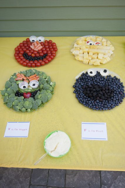 fruit, veggie, and cheese displays!