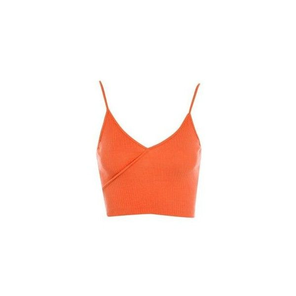 Topshop Ribbed Wrap Crop Top ($7.48) ❤ liked on Polyvore featuring tops, tomato, orange top, strap crop top, wrap front top, crop top and wrap style top