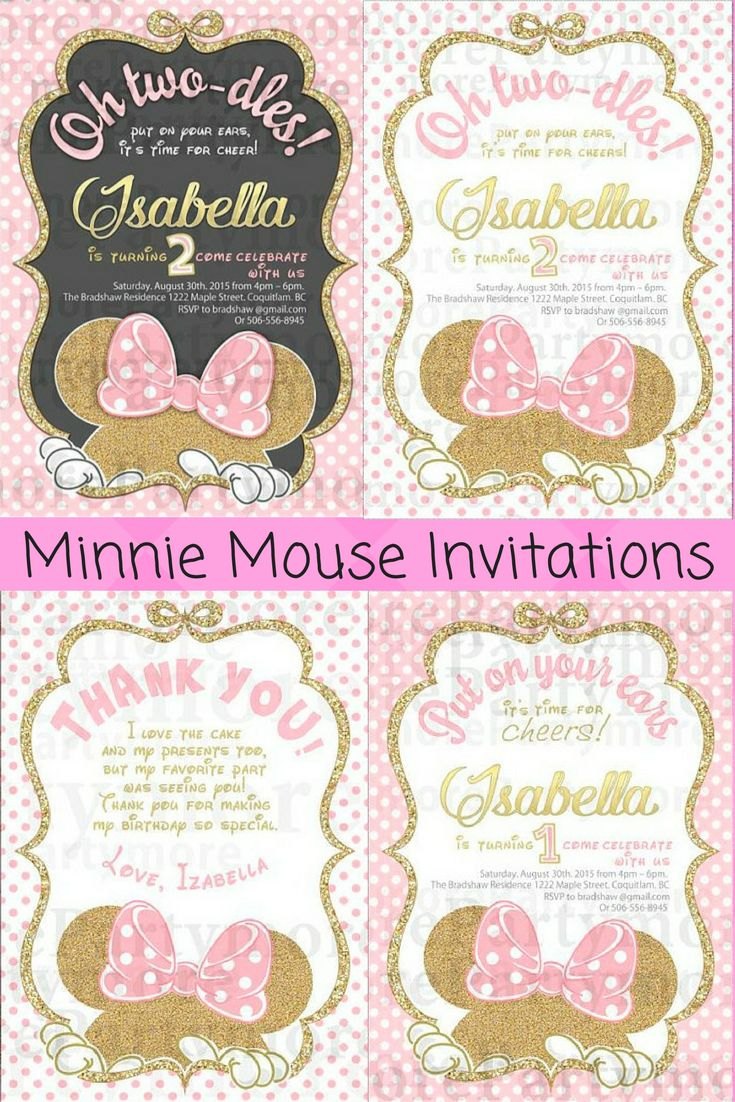 Black Gold & Pink Minnie Mouse Birthday Invitation and Thank you cards #ad