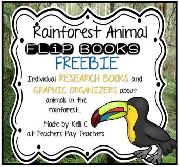 Rainforest Animals Flip Book FREEBIE- Informative Writing, Research and Graphic OrganizersDo you need a great activity to add to your Rainforest unit?  This could be just what you are looking for.  This packet includes an individual animal flip book of Toucans.