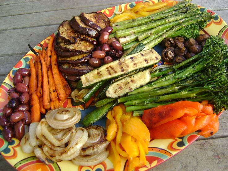 Grilled vegetable platter - the colors just pop!