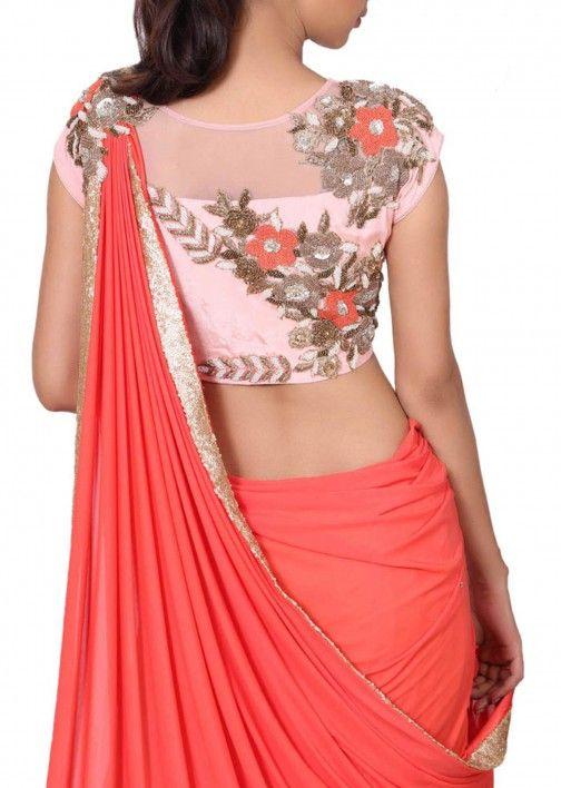 Two piece lehenga saree set with attached pallu