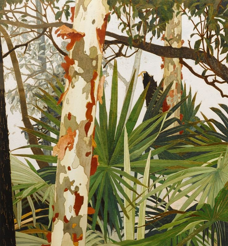 "thunderstruck9: "" Cressida Campbell (Australian, b. 1960), Peeling Bark, 1999. Woodblock, watercolour on plywood, 49.5 x 46 cm. """