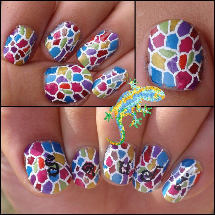 Gecko multicolour nail art