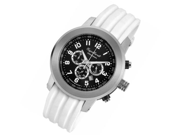 """Das ist ein echter """"Monster-Chronograph"""" von Engelhardt. Mit dem weissen Silikon-Armband sieht das Teil richtig gut aus."""