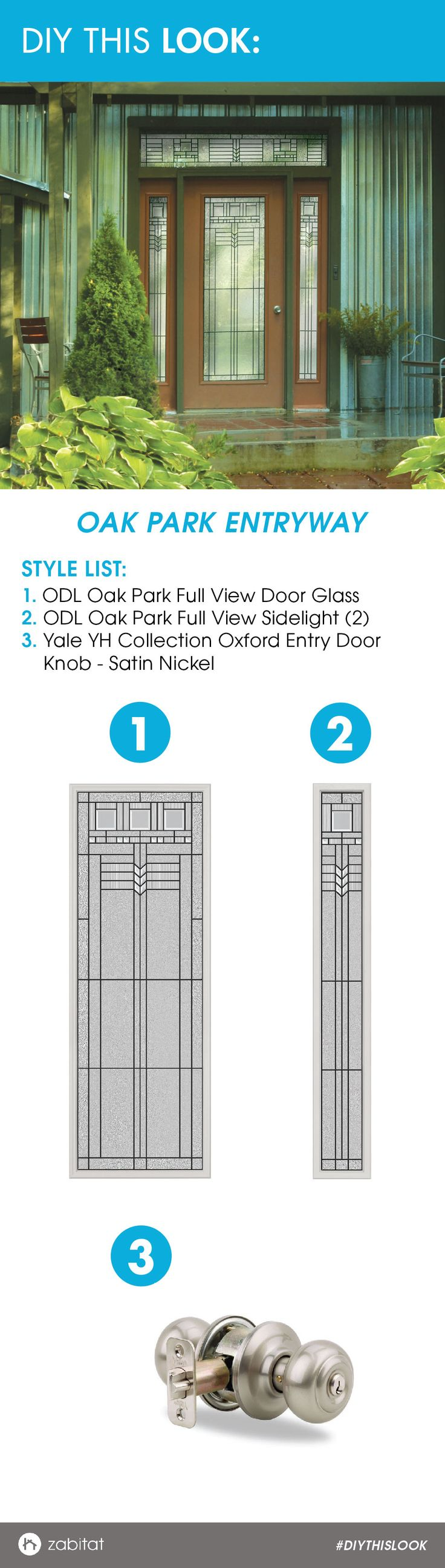 ODL Oak Park Door Glass Insert paired with a Yale Satin Nickel entry knob.