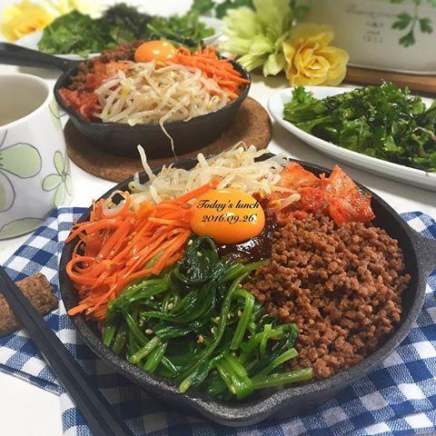 . 今日の#昼ごはん は #スキレット で#石焼きビビンバ 🍳 . 付け合せは #チョレギサラダ 中華スープ . 焼肉屋さんに負けない 美味しいビビンバが完成💕 . そして、息子が❗️ やっと寝返りをしてくれました😂 感動👏💕 . #ビビンバ #韓国 #おうちごはん #クッキングラム #デリスタグラマー #おうちカフェ #料理 #料理写真 #手料理#delicious #LIN_stagrammer #instafood #yummy #kitakyushu #fukuoka #cookingram #cooking #foodphoto #foodpic  #eat #gramfriends #healthy