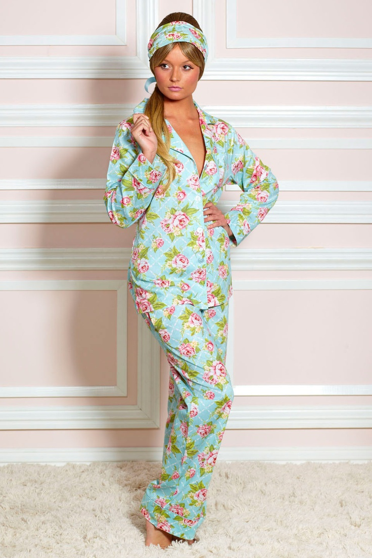 Cottage Rose Pajama Set In Light Blue.