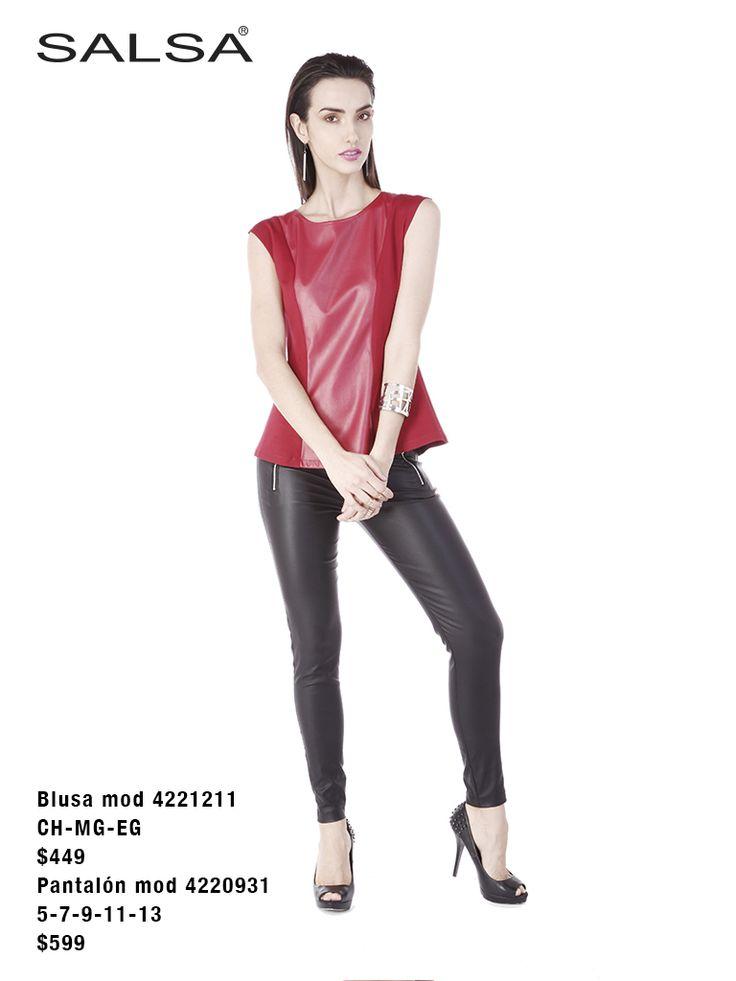 Pantalón de cuero con blusa roja sin mangas geométrica con detalles de cuero #cuero #outfit #otoño #fashion ENCUÉNTRANOS EN LIVERPOOL Y FÁBRICAS DE FRANCIA. http://www.liverpool.com.mx/tienda/juniors/salsa/N-2aqvZ1z12s08