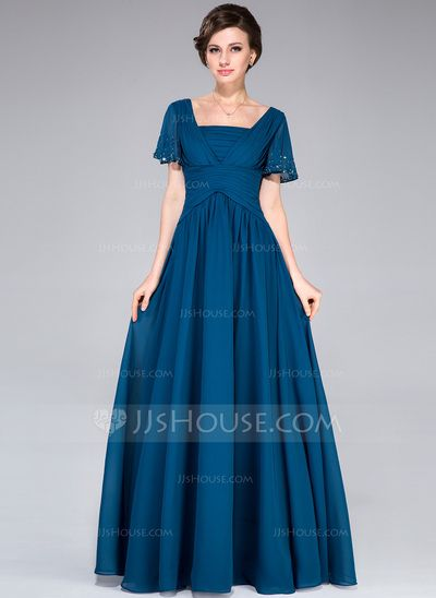 [US$ 132.99] A-Line/Princess Square Neckline Floor-Length Chiffon Mother of the Bride Dress With Beading Sequins Cascading Ruffles