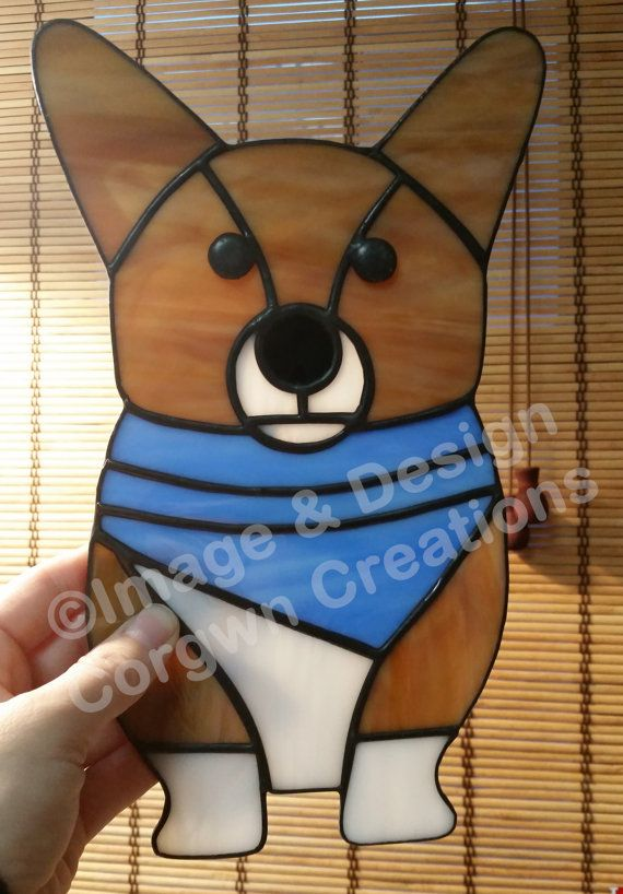 Stained Glass Pembroke Welsh Corgi with Bandana by CorgwnCreations